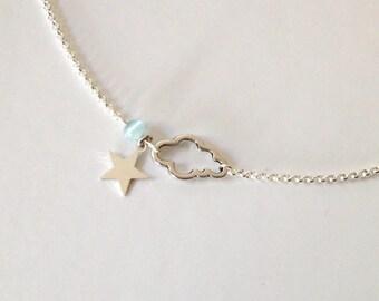 Collier argenté nuage breloque étoile perle bleue