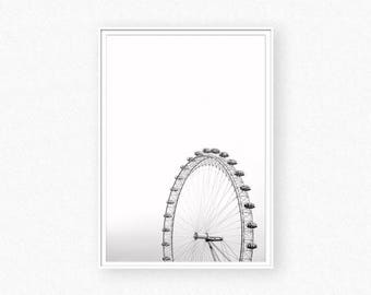 London eye print, London print, ferris whell print, London eye black and white photography, London wall art