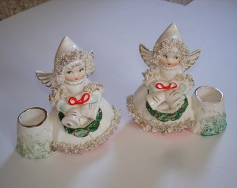 Christmas Angel Candle Holders Vintage Commodore Spaghetti Trim