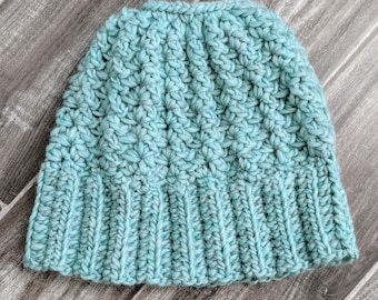 Winter Wool Messy Bun Beanie