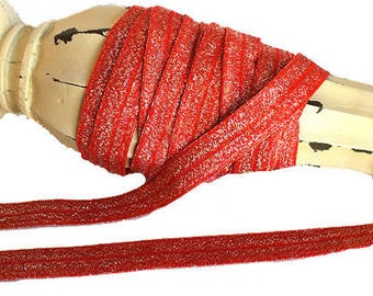 """5/8"""" Red with Silver Sparkle ~ FOE ~ Fold Over Elastic ~ Metallic ~ Headbands ~ Trim ~ Shimmer ~ 5/8 inch"""