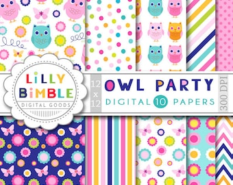 Owl Digital papers with flowers, stripes, polka dots, birthday party, invites, cards Instant Download