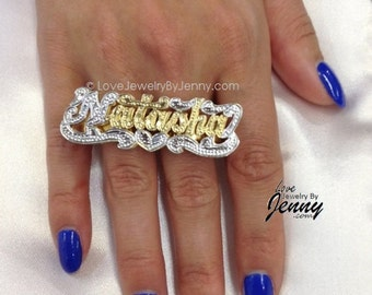 ring personalized double plate gp two any rings finger name nikfine