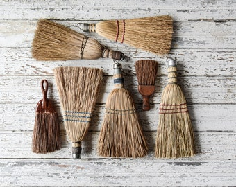 Vintage Whisk Brooms, Hand Brooms, Natural Bristle Dust Brooms, House Cleaning Supplies, Spring Cleaning