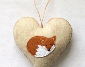 Fox Heart Decoration, Woodland Fox Ornament, Door Hanger - Handmade