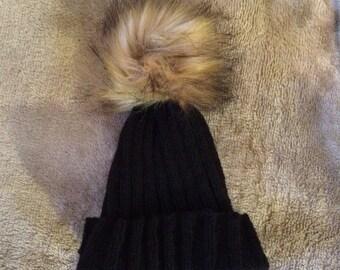 Hand knitted luxury Pom Pom hat