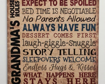 PERSONALIZE Grandma's House Rules, Mimi Nana Papa Nonnie Primitive Wood Sign Home Wall Decor grandparent gift, Grandma gift, signs