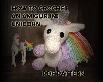 How to Crochet Amigurumi Unicorn Stuffed Animal - Crochet Unicorn Pattern - Crochet PDF - DIY Crafts - Rainbow Amigurumi Crochet Pattern