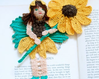 sunflower fairy crochet bookmark pattern, sunflower fairy decoration instructions, unique bookmark diy, fairy decor pdf, shadow box art diy