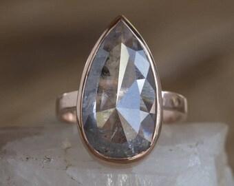 One of a Kind Grey Salt + Pepper Rose Cut Rose Cut Diamond Ring