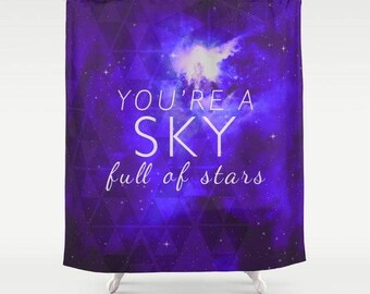 fabric shower curtain-typography-song lyrics-quote-love words-galaxy theme-stars-night sky-purple-white-bathroom decor-home decor