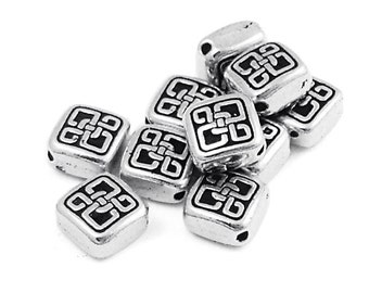 TierraCast Small CELTIC DIAMOND Bead - Antique Silver Beads - Tierra Cast Celtic Bead (P393)