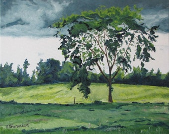 """Art Original Large Oil Painting Country Landscape Tree Green Impressionist Appalachian Nature Quebec Canada By Fournier """" The Elm """" 24 X 30"""