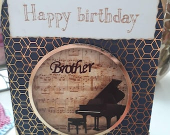 Handmade happy birthday brother, piano themed brother card, music themed brother card, birthday card for brother