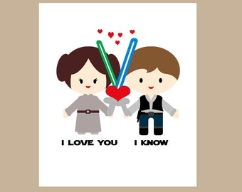Star Wars  Anniversary Card-Star Wars Geek Card -Star Wars Valentine Card - Princess Leia - I Love You I Know, Valentine Card for Him