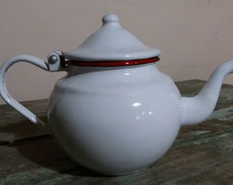 Vintage French Japy Enamel White Teapot With Red Rim,Gift,Small,Kitchen ware,French Enamelware