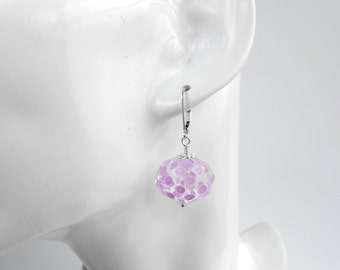 Sterling Silver Leverback Earrings with Pale Pink Lilac Patterned Faceted Glass Bead Drop Pierced Ears Handmade Earrings UK Pink Earrings