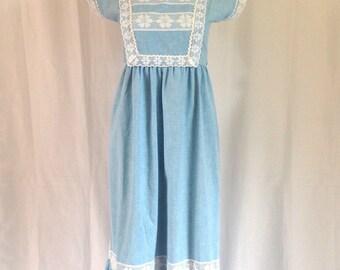 1970's Empire Waist Peasant Style Maxi Dress Sz. XS
