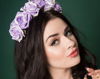 Marbled Rose Floral Headband Crown Festival Bridal Bridesmaid Choice of Colours