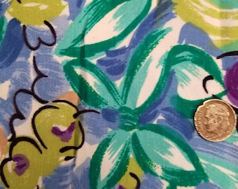 """Vintage l. hamrick 1990 floral synthetic  soft 3.5 yards 60"""" wide fabric VF2"""