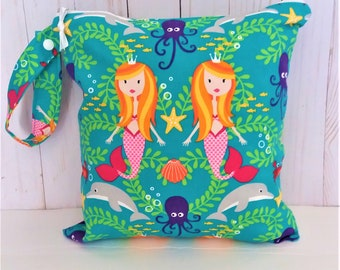 Mermaid Wet Bag, washable waterproof bag, wetbag, cloth diaper bag, wet bathing suit bag, pool bag