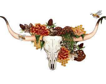 Longhorn- art print watercolor illustration