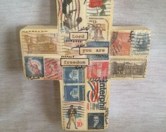 Freedom Mixed Media Postage Stamp Art Cross