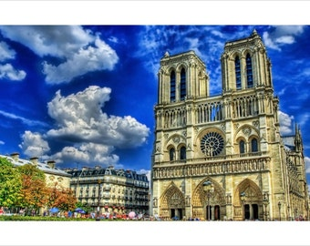 Cathedral Notre Dame De Paris Poster 24x36 Blue Sky Famous Landmark France