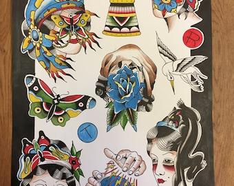 A3 traditional tattoo flash print