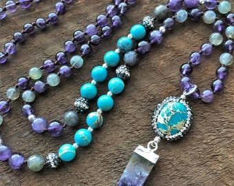 Amethyst Mala, Labradorite Ocean Jasper Mala Necklace, Bohemian Necklace, Healing Necklace, Yoga Bracelet, Chakra Necklace, Prayer Beads