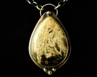 PetrIfied Palm Wood Agate  Necklace , Pendant , Sterling Silver 925,Oxidised,Handmade