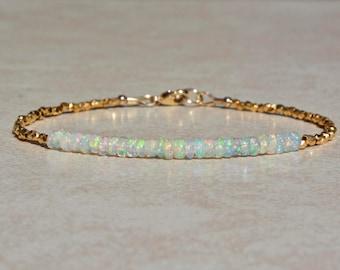Opal Bracelet, October Birthstone Bracelet, Ethiopian Opal Jewelry, Gold Vermeil, Beaded Gemstone Bracelet, Stack Bracelet, Mothers Day Gift