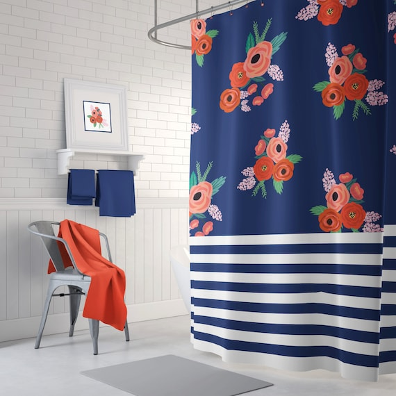 navy and coral shower curtain.  Stripes And Floral Shower Curtain Navy Blue Coral Red
