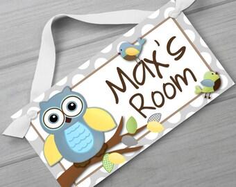 Grey Owl Boys Nature Forest Bedroom and Baby Nursery Kids Bedroom DOOR SIGN Wall Art DS0280