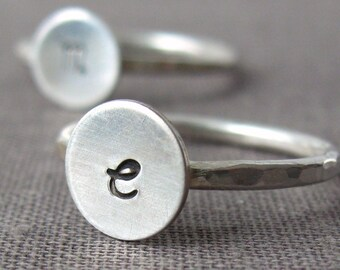 Sterling cursive initial ring