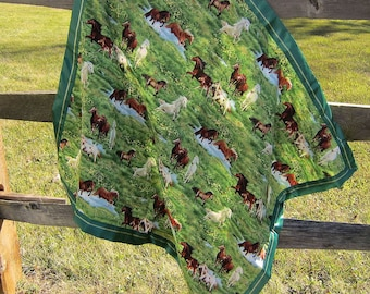 Handcrafted Horses in Pasture Cotton Baby Blanket w/green dot fleece back