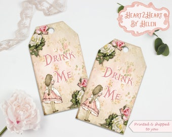 10 Alice in Wonderland Drink Me Gift Tags Toppers, Favors, Wedding, Tea Parties, Baby Shower, Bridal Shower,Birthday,Gifts