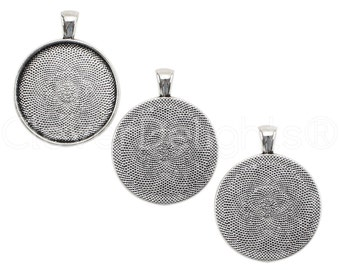 "100 Pk - 30mm (1 3/16"") Round Trays - Antique Silver Color - Vintage Style Pendant Trays - Cameo Pendant Blanks - 30 mm 1 3/16 Inch Tray"