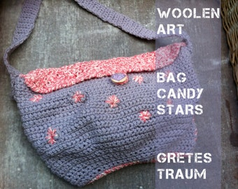 CANDY STARS, crochet and embroidered shoulder bag