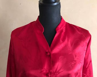 Red Asian Style Blouse Vintage 80/90's