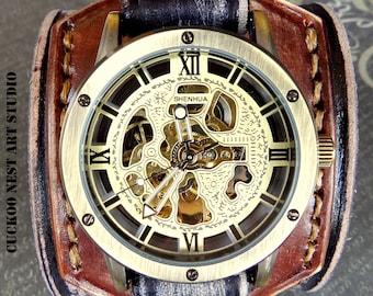 Men's Watch Cuff, Steampunk Leather Watch Cuff, Men's watch, Leather Wrist Watch, Leather Cuff, Bracelet Watch, Black and Brown