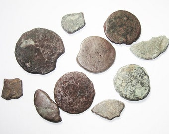 Lot of 10 Celtic Potins - Celtic Copper Alloy Coin from Gaul c. 100 BC - Totally Authentic