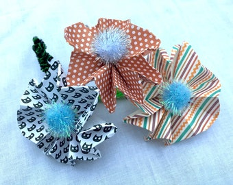 Origami Paper Flower Corsage/Boutonnieres with PomPom - Customizable