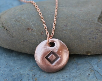 Copper Rune stone necklace- Handmade Elder Futhark charm, delicate copper chain- personalized runic symbol or initial - Energy
