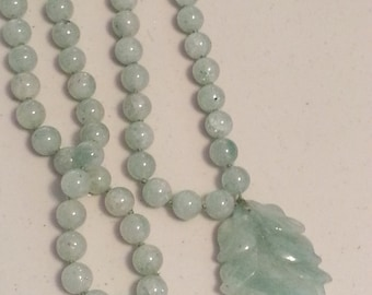 Green Beaded Jade Pendant Necklace