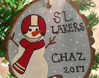 Football Ornament - Wood Slice Ornament - Custom Ornament - Personalized Ornament - Snowman Ornament - Kids Ornaments - Christmas Ornament