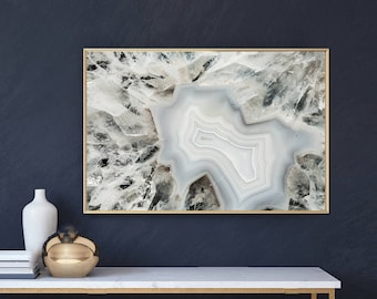 Mineral Photography - (Print # 066) White Crystal Agate    - Fine Art Print - Two Paper Choices- Mineral Geode Agate Crystal Decor