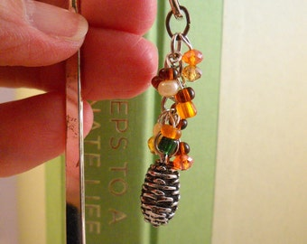 Metal Beaded Pinecone Bookmark, Page Saver with Pinecone Charm