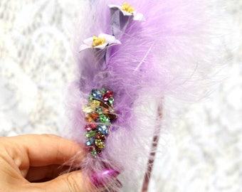 hair jewelry with purple feathers and Crystal brooch