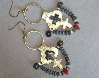 Earrings, vintage parts, brass, roman Glass Beads, coral * 687